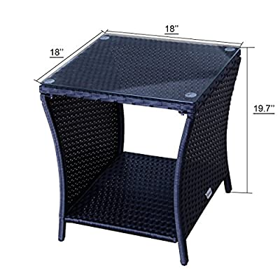 Kinbor Patio Wicker Table Outdoor Rattan Square Glassed End Side Table Patio Furniture Storage