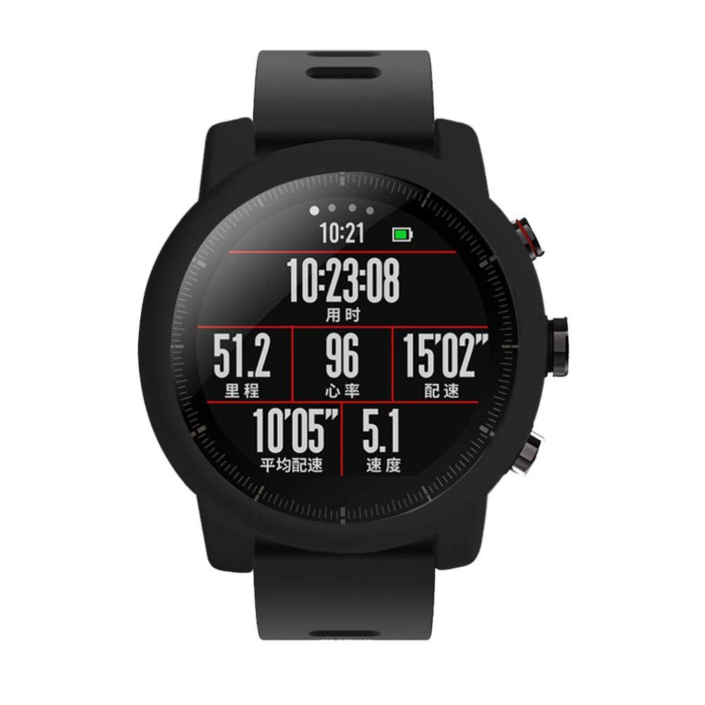 ... Suave TPU Protectora de Silicona Funda de Pantalla Completo Cubierta para Xiaomi Huami Amazfit 2/2S Reloj Inteligente (Negro): Amazon.es: Electrónica