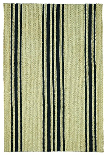 Rectangle Braided Rug 4' x 6' Homespice Taylor Farmhouse Brown, Black Made From Jute, Durable Eco Friendly Natural Fiber, Easy To Clean, Reversible, Handmade (Taylor Black Rug)