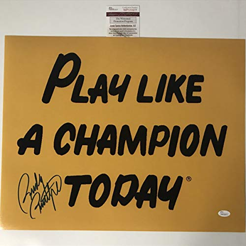 Autographed/Signed Rudy Ruettiger Play Like A Champion Today Notre Dame 16x20 Football Photo JSA COA