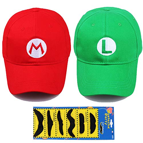 TISOSO Fashion Super Mario Bros Hat Baseball Cap Unisex Costume cosplay Halloween Hat for Adult Kids (Red and Green) 2Pcs ()