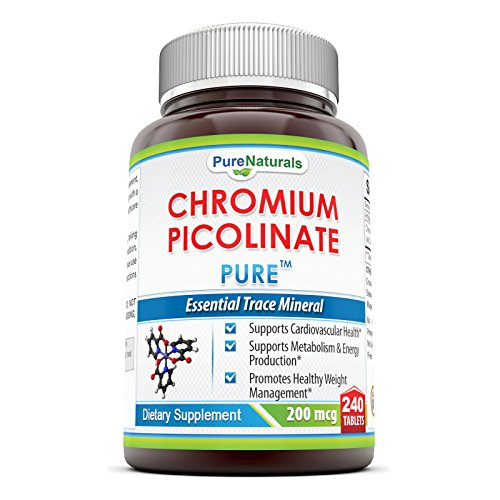 Pure Naturals Chromium Picolinate Supplement - 200 mcg - 240 Tabletsper Bottle- Supports Cardiovascular Health*, Supports Metabolism & Energy Production* & Promotes Healthy Weight Management*