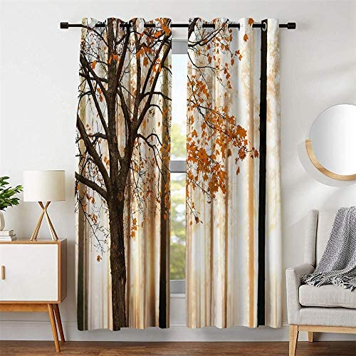 "106""W x 84""L Room Decor Window Curtains Maple Tree Fall Brown Branch Yellow Red Leaves Blackout For Living Room Bedroom Drapes 2 Panels Set"