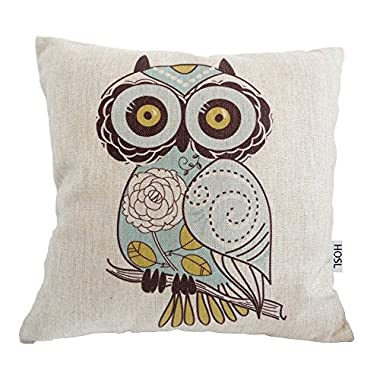 HOSL Owls pattern Cotton Linen Square Decorative Throw Pillow Case Cushion Cover 17.3*17.3 Inch(44CM*44CM)