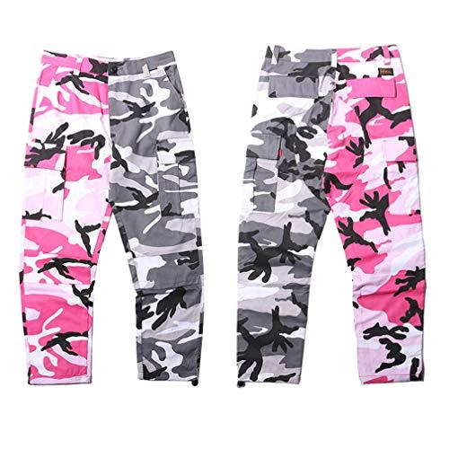 Patchwork Bicolore Grigio Mimetici rosa Pantaloni Camouflage Pantalone Tasche Pantaloni Streetwear Cargo Multi Cheyuan Cotone Hop Militare Casual Hip aXqaEd