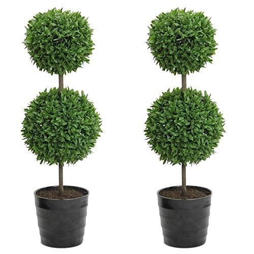 Sphere Topiary Double - MISC Set of Two - Double Topiary Boxwood 2 Round Ball Sphere Plant Tabletop Decorative Greenery Artificial Green Realistic Indoor Office Desk 18