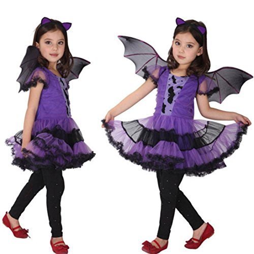 Kids Baby Girl Halloween Dress +Hair Hoop+Bat Wing Outfit Costume (13-15T, (Child Tapered Chiffon Skirt)