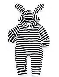 EGELEXY Bunny Newborn Boy Girl Rompers Striped Long Sleeve Baby One-Piece Suit