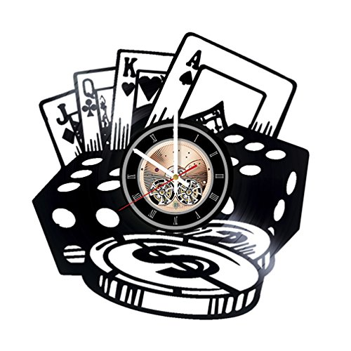 Poker Chips Vinyl Record Wall Clock - Play Room wall decor - Gift ideas for Friends, Men, Boys - Game Unique Art Design]()