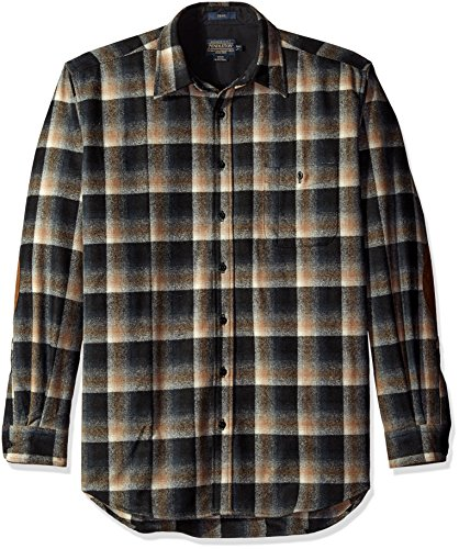Pendleton Men's Tall Size Big Trail Shirt, Black/Brown Ombre, LG
