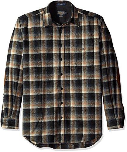 Pendleton Men's Tall Size Big Trail Shirt, Black/Brown Ombre, LG