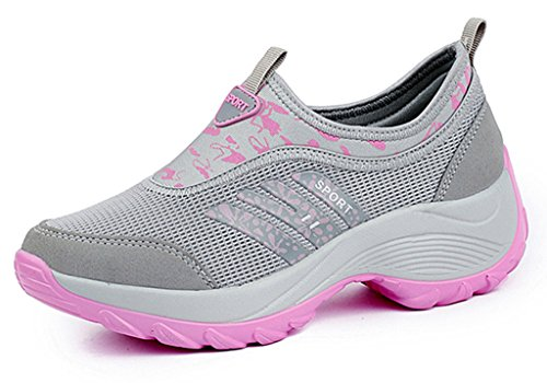 DADAWEN Women's Slip-On Platform Fitness Work Out Sneaker Gray(c)