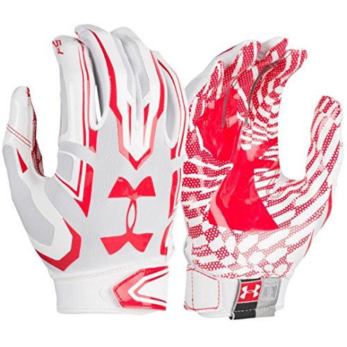 Under Armour Ua F5 Grab Tack Advanced Skill Heat Gear Max Flex Football Receiver Gloves  Adult Large   White University Red