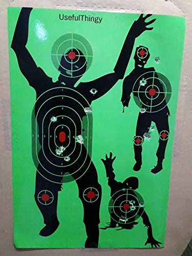 Zombie Shooting Target Splatter Targets 12x17.5 inch - Reactive Paper Shoot n See 10 / 30 / 50 Pack - Rifle Handgun Shotgun Airsoft BB Gun - Range Acessories, Bright Blast Green (Green 10 pack) (Zombie Targets Shooting)