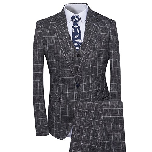 Men's Plaid Tweed 3 Piece Suit Slim Fit One Button Dinner Suit Tuxedo Grey