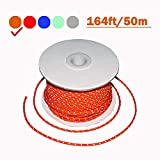 164 Feet Length, 4mm Diameter, Reflective Tent Guyline, 100% Nylon Material Cord, High Visibility Tent Rope for Rain Tarps, Tents, Hiking, Camping and Survival Kits(1 Pack) (4MM-Orange)