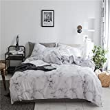 Marbling Duvet Cover Set Twin Lightweight Soft White 2PC Comforter Cover Set Quilt Cover 100% Microfiber Hotel Quality with Marble Design