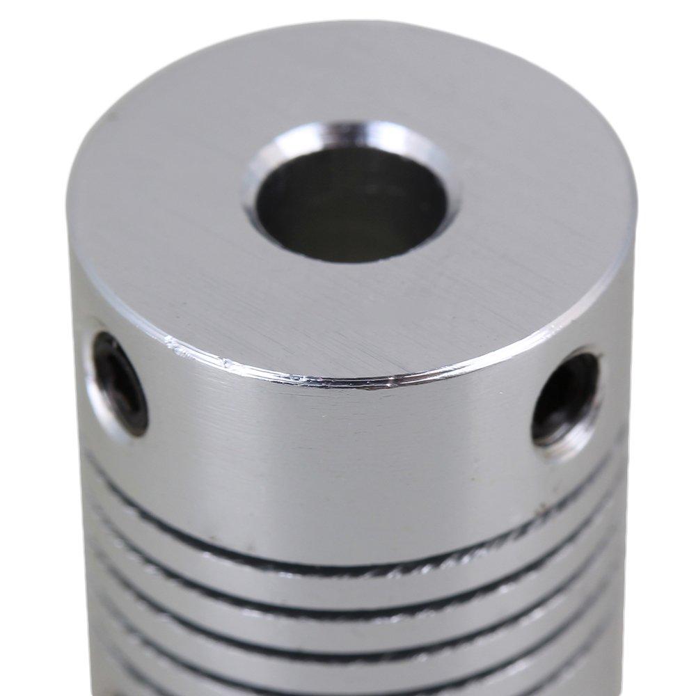 6,35x10mm Silber Aluminiumlegierung Flexible Wellenkupplung CNC Schrittmotor Encoder Koppler D19L25 Packung von 2 St/ück