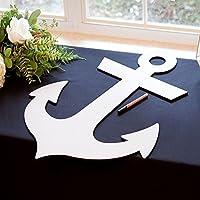 "Wedding Guestbook Wooden Anchor - 28"" Large Wooden Guestbook Alternative Nautical Seaside Beach Wedding Party Reception"