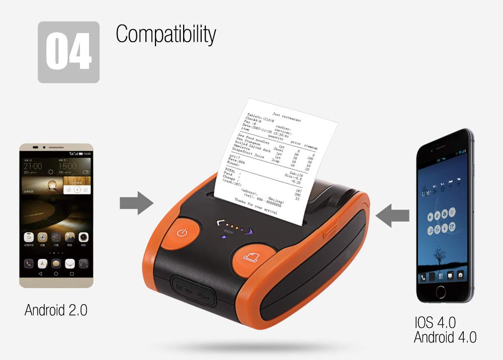 POS Thermal Receipt Sticker Label Barcode Picture Printer/Android iOS Bluetooth Power Display (Black/Orange) Tzadok' s Tech OS5806