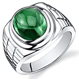 Mens 6.50 Carats Simulated Emerald Ring Sterling Silver Rhodium Nickel Finish Size 8