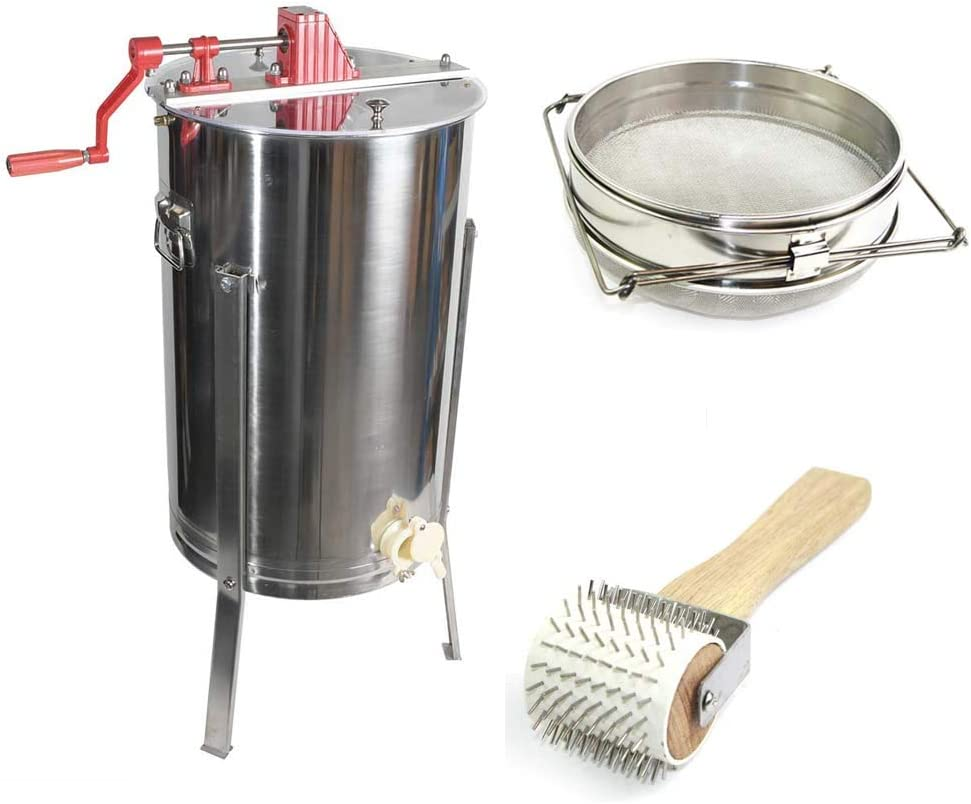 Goodland Bee Supply 2 Frame Honey Extractor, Uncapping Roller, and Stainless Steel Sieve Honey Strainer - GL-E2-UR/STR
