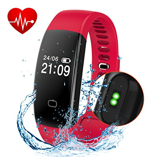 Fitness Tracker, Activity Tracker Smart Band Wireless Watch Bluetooth 4.0 Wristband Waterproof IP67 Bracelet with Heart Rate Monitor, pedometer, Calories track, Sleep monitor (Red)