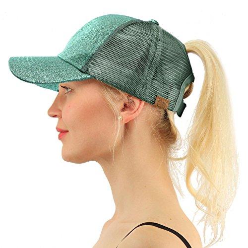 C.C Ponytail Messy Buns Trucker Ponycaps Plain Baseball Visor Cap Dad Hat Glitter Mint