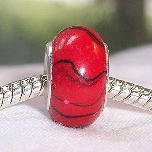 - Red Black Stripe Pattern Acrylic Murano Bead for European Charm Slide Bracelets Crafting Key Chain Bracelet Necklace Jewelry Accessories Pendants