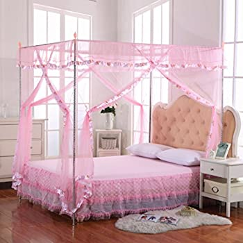 Mosquito net bed canopy lace luxury 4 corner - Canopy bed ideas for adults ...
