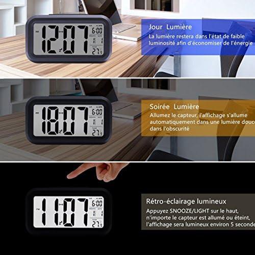 BONHEUR R/éveil Num/érique,Horloge LCD,Lampe de R/éveil Nuit Automatique Light Activ/é Capteur Snooze R/éveil avec Affichage Date Temp/érature pour Parent /Étudiant Noir