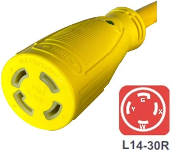 Marvine Generator Adapter 20A Plug 5-20P to L14-30R 30A Locking Female 1.5Ft