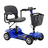 IOOkME-H 4 Wheel Electric Mobility Power Scooter Travel Transportable Foldable Scooter Bike for Elders & Disabled, 12FT (Blue - 1)