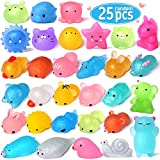 FLY2SKY 25PCS Mochi Squishy Toys 2nd Generation Glitter Mini Squishy Animal Squishies Easter Egg fillers Party Favors for Kids Stress Relief Toys Kawaii Cat Unicorn Squishys Easter Gifts, Random