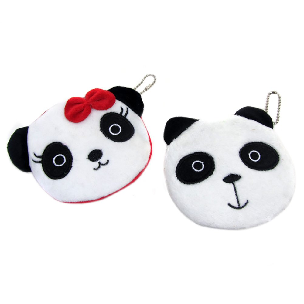 Da.Wa 2Pcs Cute Panda Plush Money Change Coin Purse Wallet Zipper Credit Card Holder Bag Makeup Cosmetic Pouch