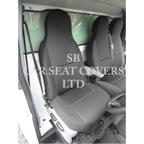 FABRIC BLACK 2010 ON RENAULT MASTER GREY VAN SEAT COVERS SINGLE /& DOUBLE 2+1
