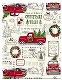 Newbridge Farm Fresh Christmas Tree Holiday Print Vinyl Flannel Backed Tablecloth by, Nostalgic Retro Christmas Tablecloth, (52 Inch x 52 Inch Square)