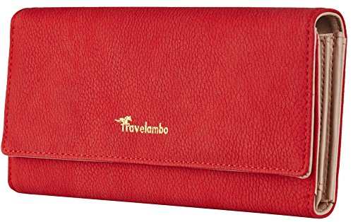 Travelambo Womens Wallet Faux Leather RFID Blocking Purse Credit Card Clutch (Red Rose 275)