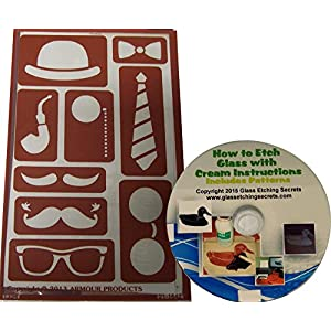 Mustache Stencils including Hat, Bowtie, Tie, Eyeglasses and Pipe Reusable Adhesive Templates + How to Etch CD
