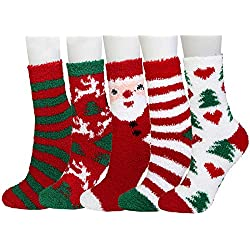 Plush Slipper Socks Women - Colorful Warm Crew Socks Cozy Soft 5 Pairs for Winter Indoor (Christmas series1)