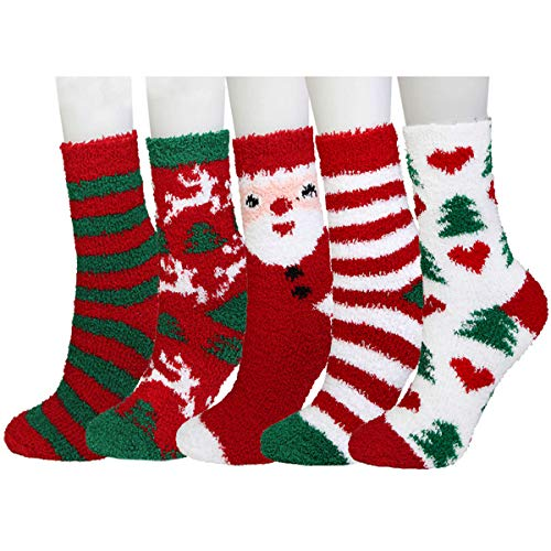 Plush Slipper Socks Women - Colorful Warm Crew Socks Cozy Soft 5 Pairs for Winter Indoor (Christmas series1)]()