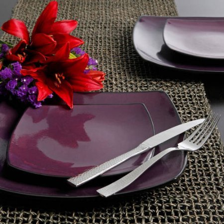 Gibson Home Soho Lounge Square 16-Piece Dinnerware Set – Purple Review