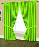 Editex Home Textiles Elaine Lined Pinch Pleated Window Curtain, 48 by 84-Inch, Neon Lime For Sale
