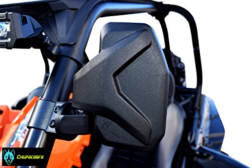 """Chupacabra Offroad Rear View Side Mirror for UTV (Pack of 2) For 1.6"""" - 2"""" Roll Cage Bar Break Away w/Adjustable Arm - High Impact Shatter Proof Tempered Glass (Driver and Passenger Side)"""