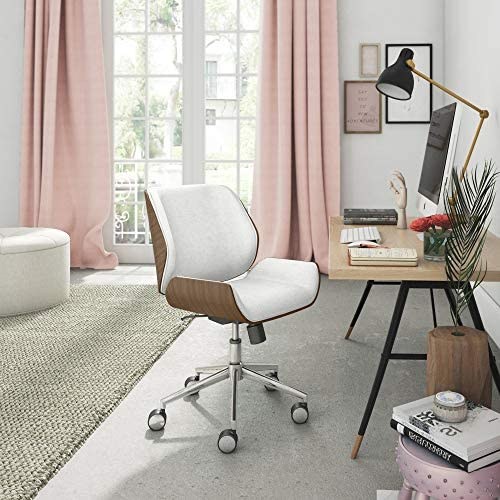 Elle Decor Ophelia Low-Back Task Modern Bentwood Home Office Armless Desk Chair