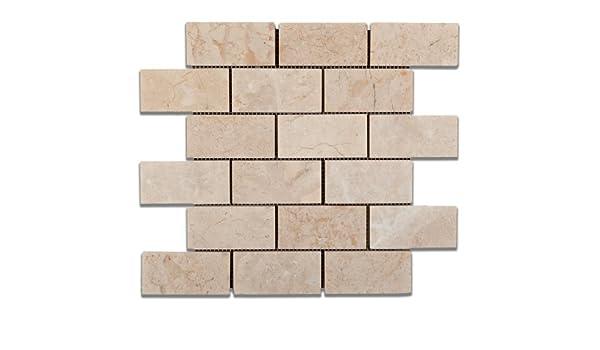 Bursa Beige Sandy Beige Marble 2 X 4 Polished Brick Mosaic Tile