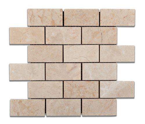 Bursa Beige / Sandy Beige Marble 2 X 4 Polished Brick Mosaic Tile - Box of 5 Sheets
