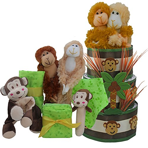 My Little Monkey New Baby Diaper Cake Gift Tower Nuetral for Boys, Girls or ()