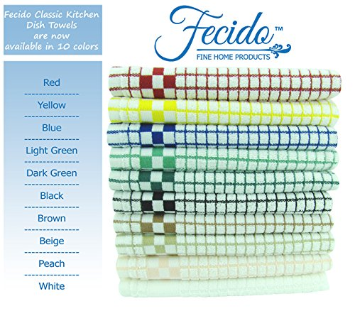 Fecido Classic Kitchen Dish Towels Set - Heavy Duty - Super Absorbent - 100% Cotton - Professional Grade Dish Cloths - European Made Tea Towels - 10 Pack, Multi Color by Fecido (Image #2)