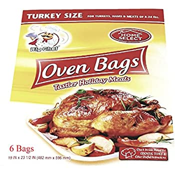 Oven Cooking Bags Plastic Turkey Size Up to 24lbs Large 6 Count for Slow Cooking Meats, Poultry and Fish
